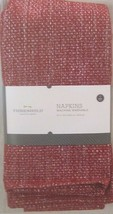 "NEW 4 PACK RED AND SILVER LINEN NAPKINS 20"" x 20"" - $14.80"