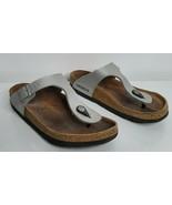 Birkenstock Women's Thong Silver Gizeh Birko-Flor Sandal size 37 US 6.5-7 - $49.99