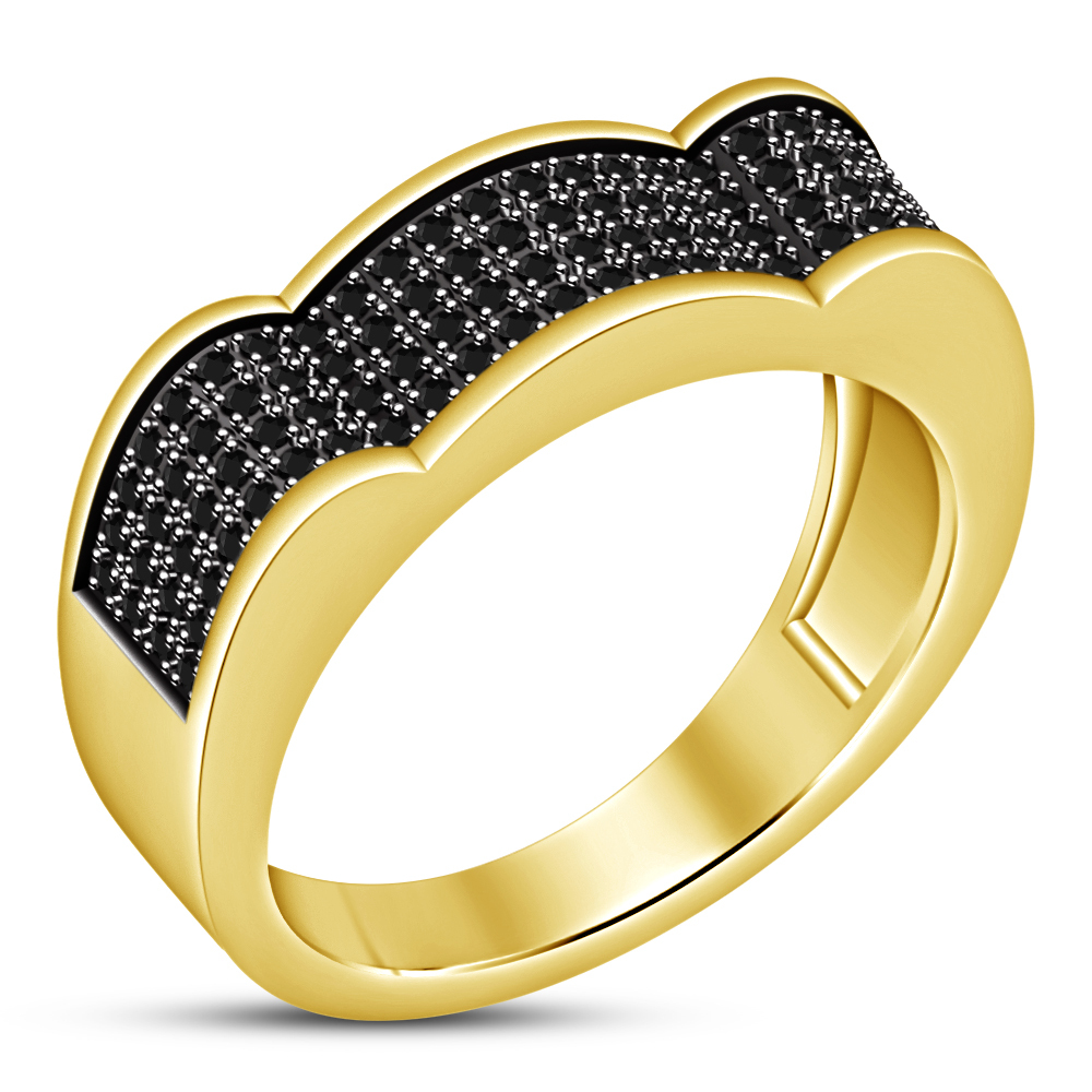 Men's 14k Gold Plated 925 Silver Round Cut Black CZ Designer Wedding Band Ring