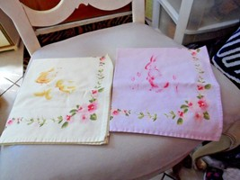 Vintage 2 adorable Spring Easter napkins- pink with bunny and yellow wit... - $10.50
