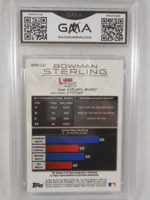 2014 Bowman Sterling #LSI Lucas Sims Auto Rookie GMA Graded Gem 10