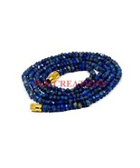 "Natural Lapis Lazuli 3-4mm Faceted Rondelle Beads 26"" Beaded Necklace Je... - $22.57"
