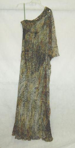 Terani Couture Designer Dress 32841 Gold Black Animal Print 1 Shoulder  Size 4