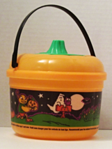 1999 Used McDonalds Happy Meal Halloween Pail Orange with Cookie Cutter Lid - $9.66