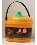 1999 Used McDonalds Happy Meal Halloween Pail Orange with Cookie Cutter Lid - £7.66 GBP