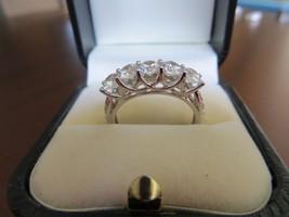 Beautiful 14k White Gold Solid Round 5 stone White CZ  Ring Size 8 - $169.99