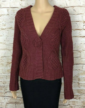 CAbi Cardigan Sweater Red Lambs Wool Style 347 Snap Button Front Women's... - $28.70