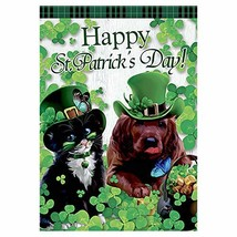 Morigins Cute Shamrock Cat and Dog with Green Hat Decorative Happy St. P... - $18.83