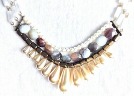 David Aubrey Hadrien Multi-Strand & Stones Simulated Pearl Statement Necklace image 2