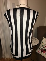 Lior Paris Black and White Cap Sleeved Striped Sweater Size Large