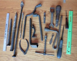 Lot of Vintage tools iron wrenches forge spikes calipers blacksmith part... - $50.00
