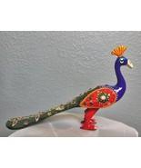 "Vintage Painted Brass Bejewled Peacock 5.25 x 9"" India ? - $39.40"