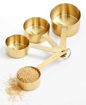 Martha Stewart Set Of 4 Gold Finished Steel Measuring 1/4 - 1 Whole Cups... - $37.99
