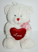 "Goffa Valentine TEDDY BEAR 7"" White Plush Love Heart Stuffed Soft Toy Bo... - $14.48"