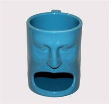 Large Blue Cordon Bleu Face Open Mouth Mug W/Cookie or Tea Bag Holder NWOT - £14.78 GBP