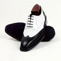 Handmade Men's Black & White Wing Tip Heart Medallion Leather Oxford Shoes image 4
