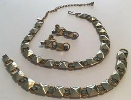 Vintage Duane Gold Tone Aqua Blue Rhinestone Parure Necklace Bracelet Earrings - $24.70