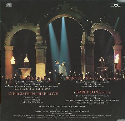 FREDDIE MERCURY & MONTSERRAT CABALLE - BARCELONA 1992 UK 4 TRACK CD SINGLE QUEEN