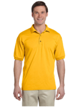 Gildan Dry Blend  4XL Polo Shirt 50/50 Jersey Knit S/S Gold - $10.89