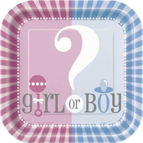 "Gender Reveal Party Girl Boy ? Baby Shower Cake Square Cake Dessert 10 Plates 7"""