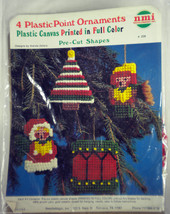 Plastic Canvas Christmas Ornament Vtg Kit Carolers, Tree, Drum NMI Needl... - $11.75