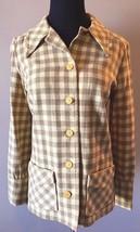 Vintage Pendleton Yellow & Brown Checked Plaid Wool Blazer Jacket sz 12 USA CJ17 - $24.95
