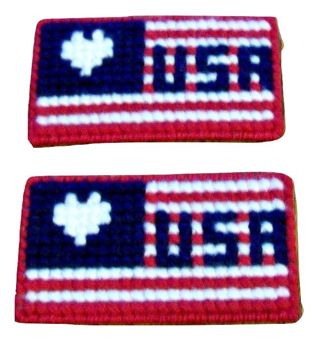 Patriotic Plastic Canvas Magnet, Fridge Magnet, Needlepoint, Handmade, Flag
