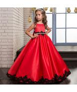Red Flower Girl Dress Satin Rhinestone Pageant Dresses Communion Dresses - $92.00