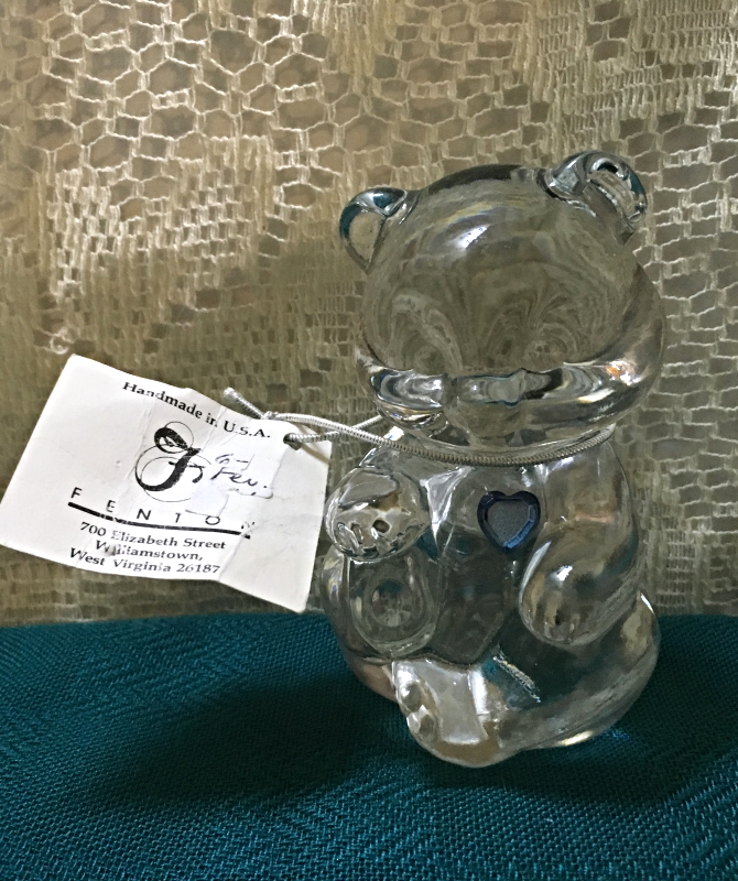 Vintage FENTON GLASS Birthstone Bear AQUAMARINE March Birthday Collectible