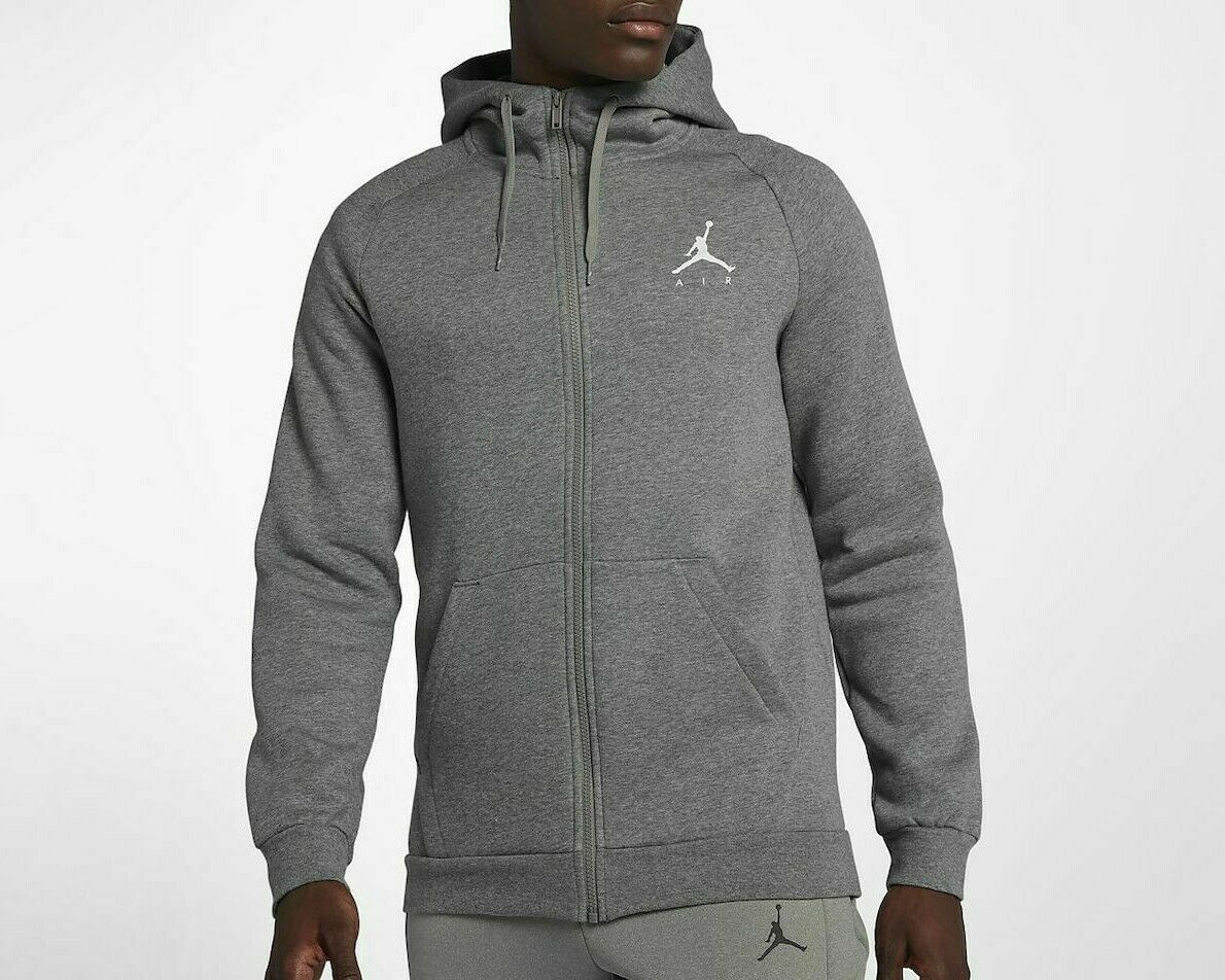 Primary image for Nike Men's Jumpman Fleece Full-Zip Hoodie   NEW AUTHENTIC Grey/White 939998-091