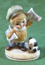 Lefton No. 6188 News Carrier with Puppy Dog Figurine EUC - $5.00