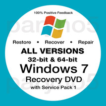 WINDOWS 7 All Versions Home Premium Pro Recovery Boot Restore DVD Disc Disk - $7.99