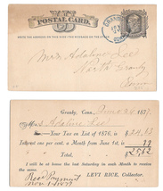 Scott UX5 1877 Granby Conn CT CDS Levi Rice Tax Collector to Mrs Adaline... - $4.99