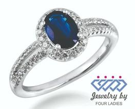 Blauer Saphir Geburtsstein 18K Weiss Gold 1.09CT Diamant Cocktail Charm ... - $2,335.42