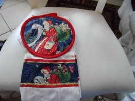 St Nicholas Square Christmas Santa pot holder and kitchen towel set - $8.50