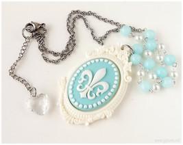 Fleur De Lis Necklace, Pastel Blue and Off White, Beaded Chain - Sweet L... - $21.00