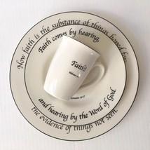 Feed on the Word Faith Collection 3 pc Set Mug Salad & Dinner Plate Scri... - $27.71