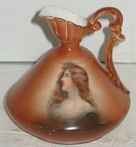 Antique Woman Painted Portrait on Porcelain Burgundy/Gold Pitcher Vase Austria - $18.81