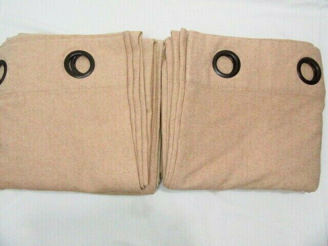 Primary image for Pottery Barn Peyton Wheat Linen Blend 2-PC 96L Grommet Drapery Panel Set(s)