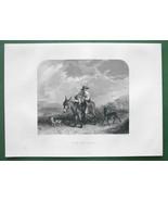 SCOTTISH BOY Hunter Riding Donkey !! Antique Print Engraving - $10.80