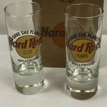 """Pair of Hard Rock Cafe HOLLYWOOD Shooter Double Shot Glasses 4"""" Glass Boxed - $20.50"""