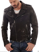 Men's Genuine Cowhide Leather Motorcycle Jacket Slim Fit Biker Jacket - $109.99+