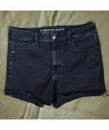 AE Super Hi-Rise Shortie Super Stretch Shorts Sz 10 Black  Raw Hems - $17.00
