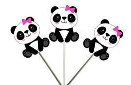 Crafty Cue 12 Count Panda Girl Sitting Cupcake Toppers, Panda Bear Cupcake Toppe - $11.99