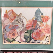 New Vintage Cross-Stitch Floral Feline Kit Dimensions Cat Poppy Flowers Nip - $24.50