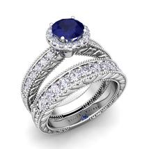 14k White Gold Finish 1.20Ct Sapphire & Simulated Diamond Bridal Engagem... - $122.88