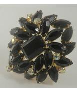 Juliana black glass emerald cut black glass aurora borealis rs brooch 3036 - $40.00