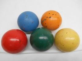 ANTIQUE CROQUET WOOD BALLS SET 5 Yard Game Red Blue Green Orange Yellow - $49.49