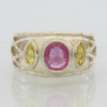 Pink Sapphire Ruby and Yellow Sapphire Handmade Silver Gents Ladies Ring size 9 - £145.07 GBP