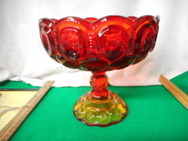 """Beautiful Amberina Footed 8"""" Compote Moon And Stars - $29.35"""
